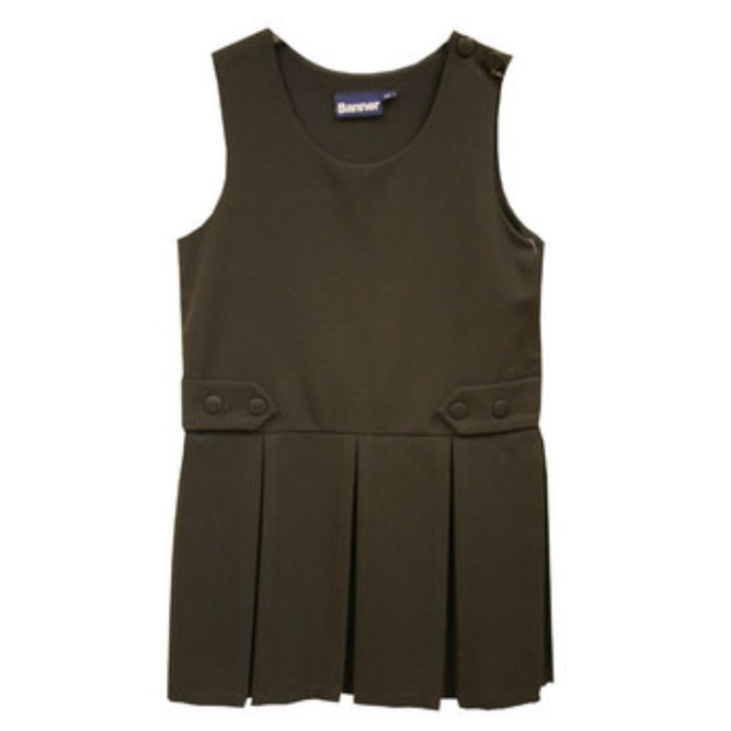51298891e92e7e Box Pleat Pinafore Brown - Crested School Wear